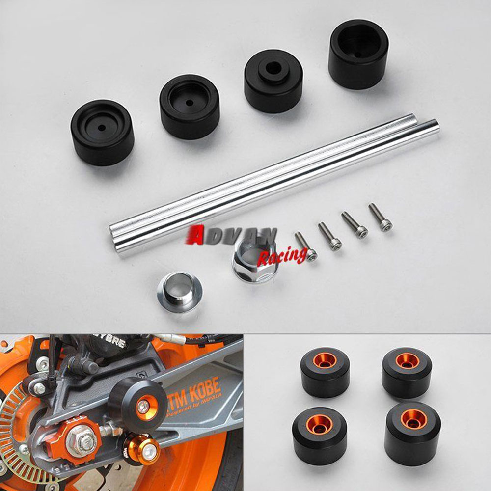 Front & Rear Front Axle Fork Carsh Sliders Cap Motorcycle Falling Protection Fit for KTM 690 DUKE SUPERMOTO tc02311010047 tc0231101004 the housing for front axle