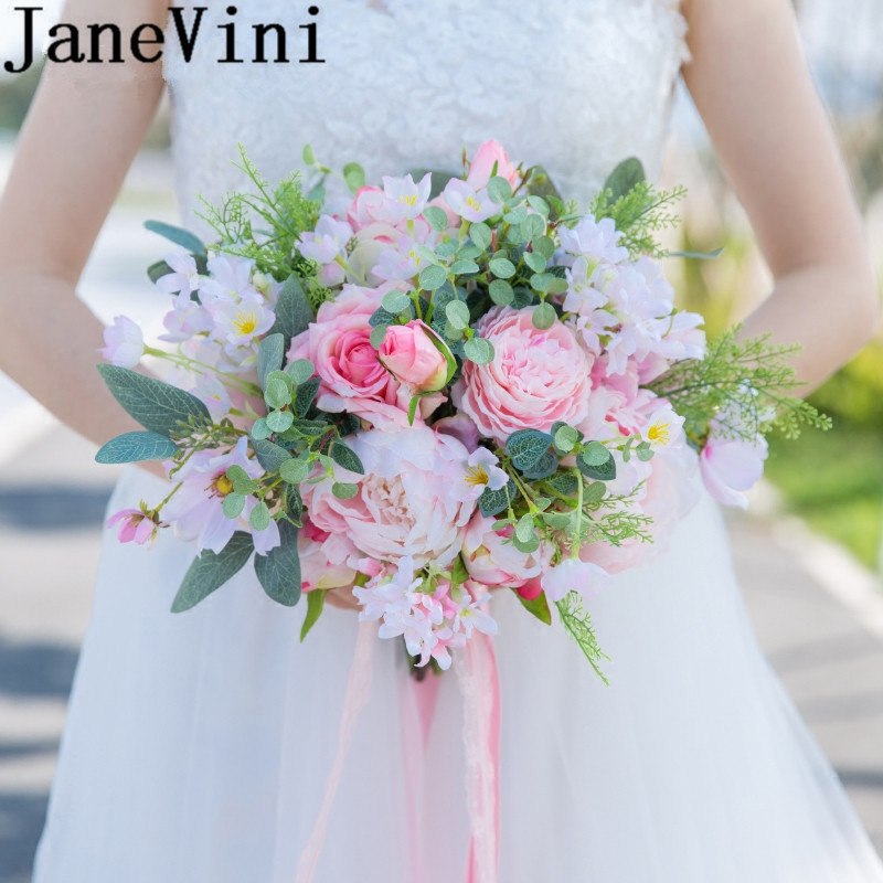 Save On Wedding Flowers: JaneVini Elegant Pink Wedding Bouquet With Feathers Bridal