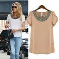 Plus Size S-XXXL 2016 Mulheres Verão Camisa Solta Chiffon Ocasional Do Vintage Blusa Beading Pullover Pescoço Mulheres Moda Tops Blusas