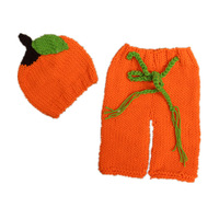Newborn Baby Photography Props Christmas Pumpkin Hat Pants Hand Crochet Knitted Beanies Outfits Newborn Props Accessories