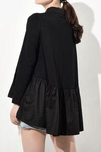 Image 5 - [EAM] blusa larga holgado y plisado con cuello levantado para primavera y otoño, Camisa larga asimétrico con Espalda descubierta, 2020