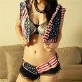 Denim Vest Women Coat Vintage American US Flag Print Cardigan Jean Sleeveless Hoodies Woman Clothing 2016 Spring SY053
