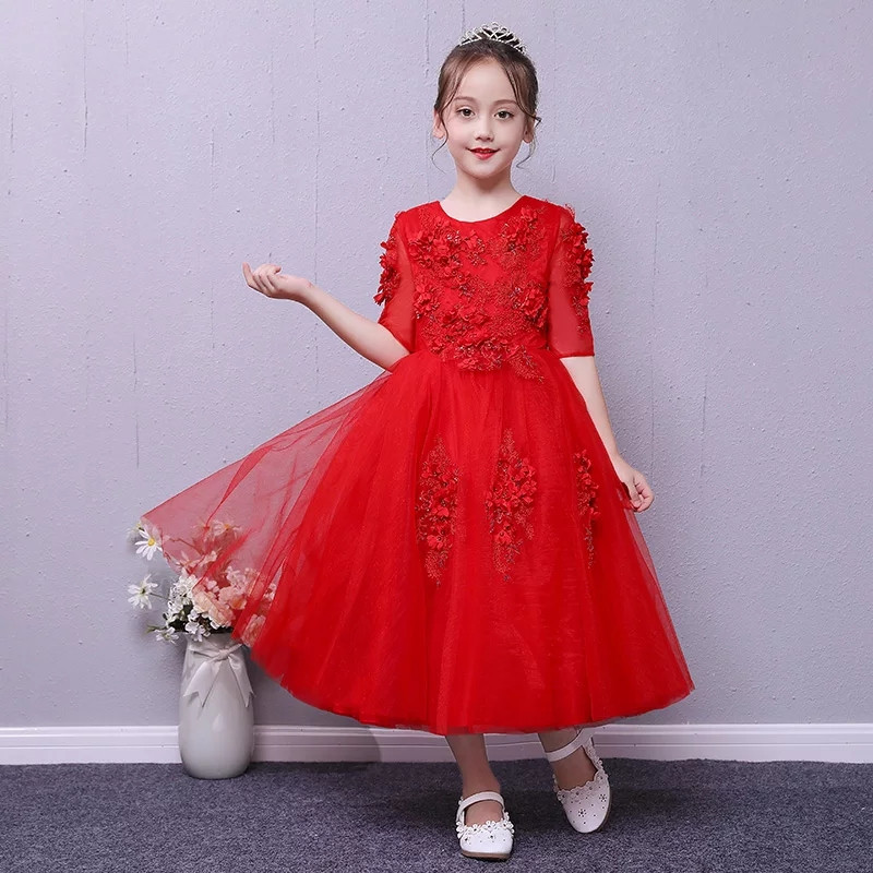 2018 Autumn New Children Girls Red Color O-Neck Gorgeous Birthday Wedding Party Princess Lace Long Dress Kids Baby Pageant Dress цены онлайн