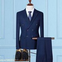 Заказ мужские классические костюмы двубортный Марка slim fit повседневные мужские костюмы 3 предмета в комплекте (куртка + брюки + жилет) 7XL 8XL 9XL