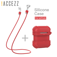 !ACCEZZ Earphone Case For Apple AirPods Bluetooth Wireless Portable Headphones Accessories Earphones Box With Keychain Lanyard