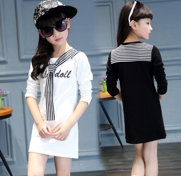 2018 summer childrens clothes girls t-shirts long sleeve stripe letter cotton baby girl t-shirts for girls kids tshirts tops