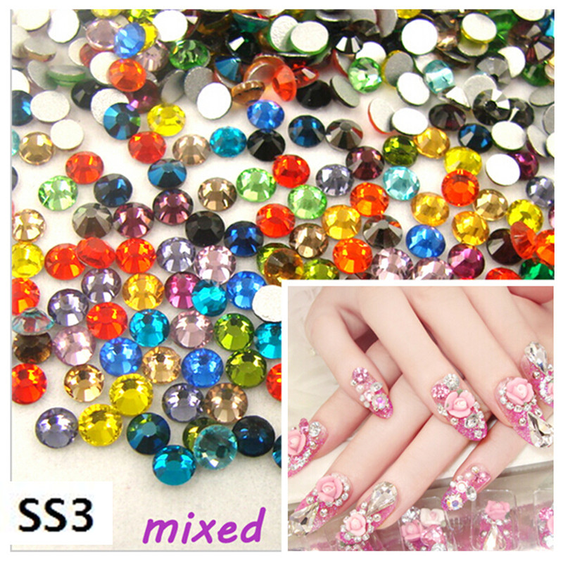 CCBLING Sale! Super Shiny SS3(1.3mm)1440pcs/Bag Crystal Mix color 3D Non HotFix FlatBack Nail Art Decorations Flatback Rhinest glitter flatback crystal resin rhinestones 2 6mm aquamarine ab color new design for nail art decorations stick drill non hotfix