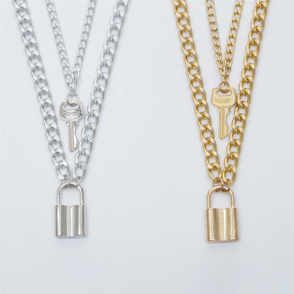 Vintage Key Lock Pendant Necklace for Women Cuban Link Chain Layered Necklace Collier Statement Jewelry Valentine 39 s Day Gift in Pendants from Jewelry amp Accessories