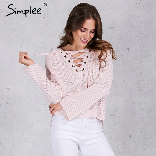 Simplee Flare sleeve knitted sweater women 2016 Lace up V neck pullover Sexy pink jumpers Casual loose split knitwear outwear