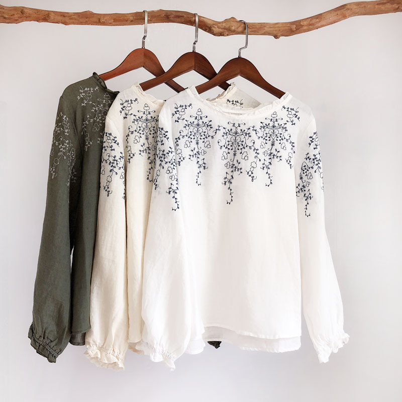 7b18d8fb12d Mori Girl Sweet Lace Collar Embroidered Doll Shirt Long sleeved Loose  Cotton Linen Blouse Women Cute Loose Shirt Ethnic Tops-in Blouses   Shirts  from ...
