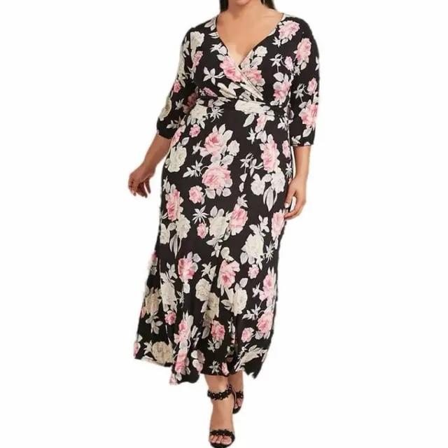 Plus Size 5XL Summer Boho Maxi Dress Women Floral Print V Neck Half Sleeve Long Dress Beach Dresses with Belt Longo Vestidos