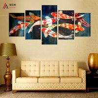 5 패널 캔버스 인쇄 잉어 물고기 예술 중국어 회화 인쇄 홈 장식 현대