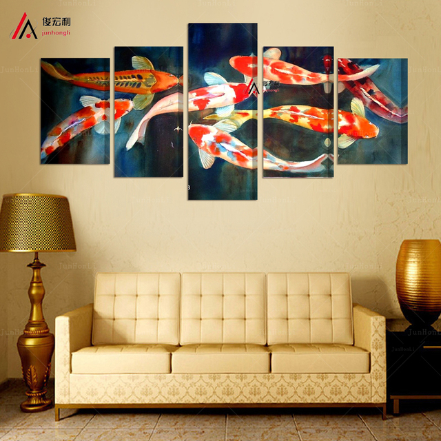 5 panel canvas prints koi fish art chinese painting printed home ...