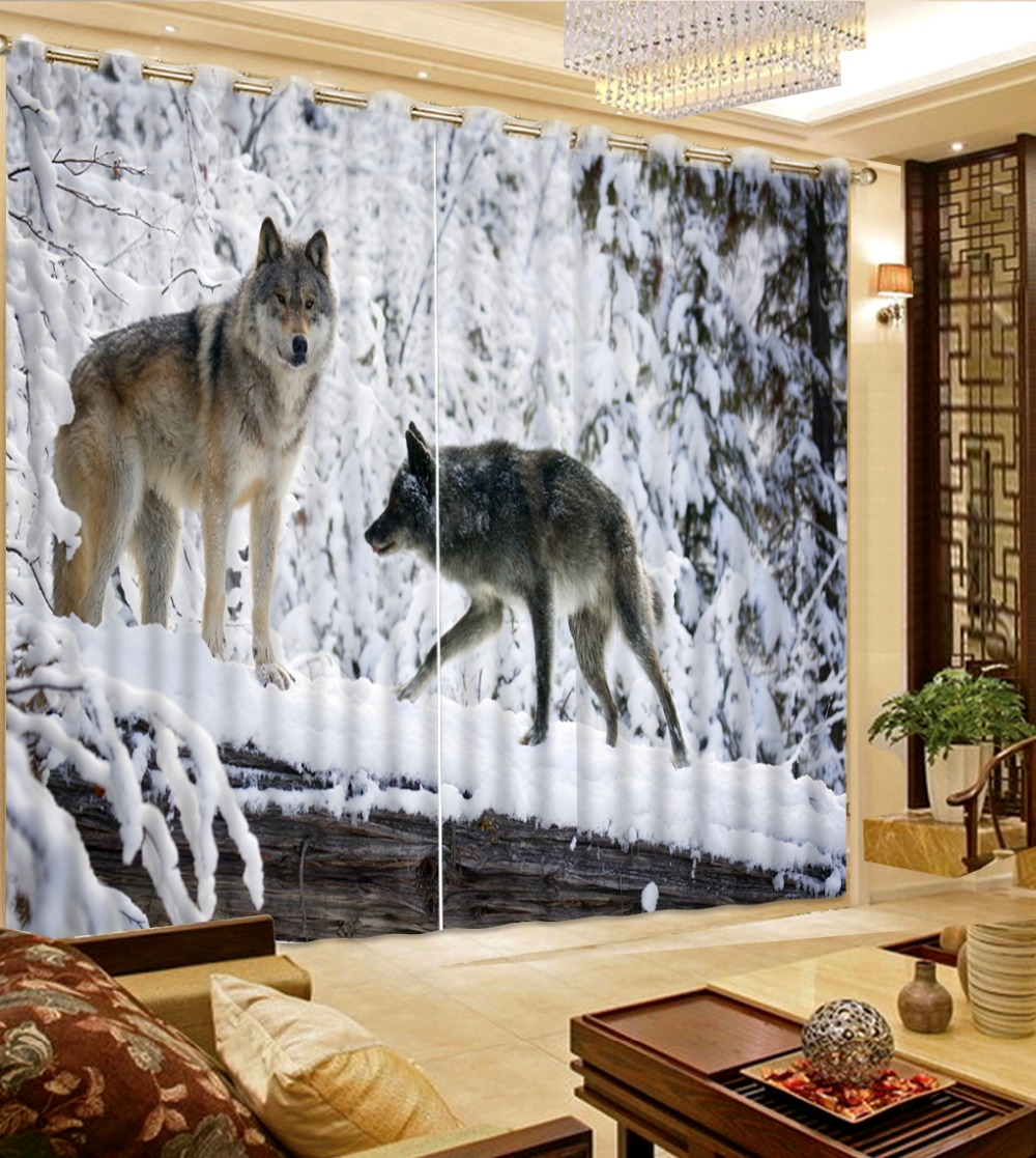 Home Decoration 3D Curtain Blackout Bedroom Sheer Curtain Photo Print Snow  Wolf Modern Window Curtains For Children