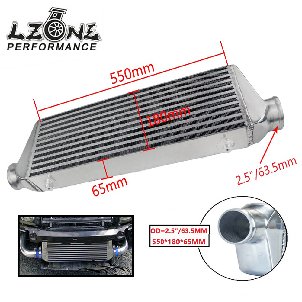 LZONE Universal Front Mount Bar Plate Intercooler 550 180 65mm In Outlet 2 5 63 5mm