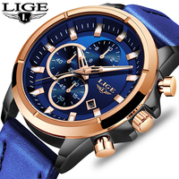 LIGE Fashion Business Blue Watch Men Top Brand Luxury Famous Male Dress Quartz Clock Waterproof Chronograph Relogio Masculino