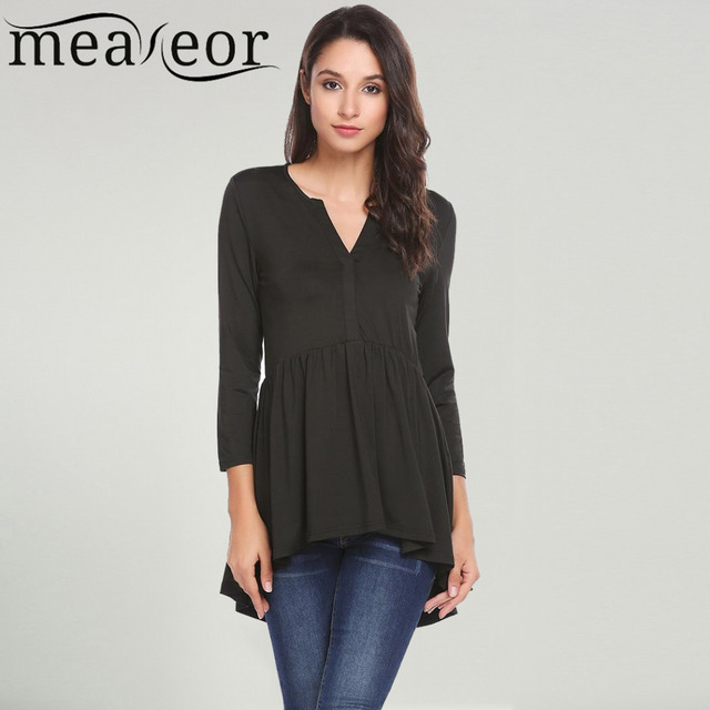 Meaneor Women Basic T-Shirts Long Sleeve V Neck Solid Flared Hem High-low