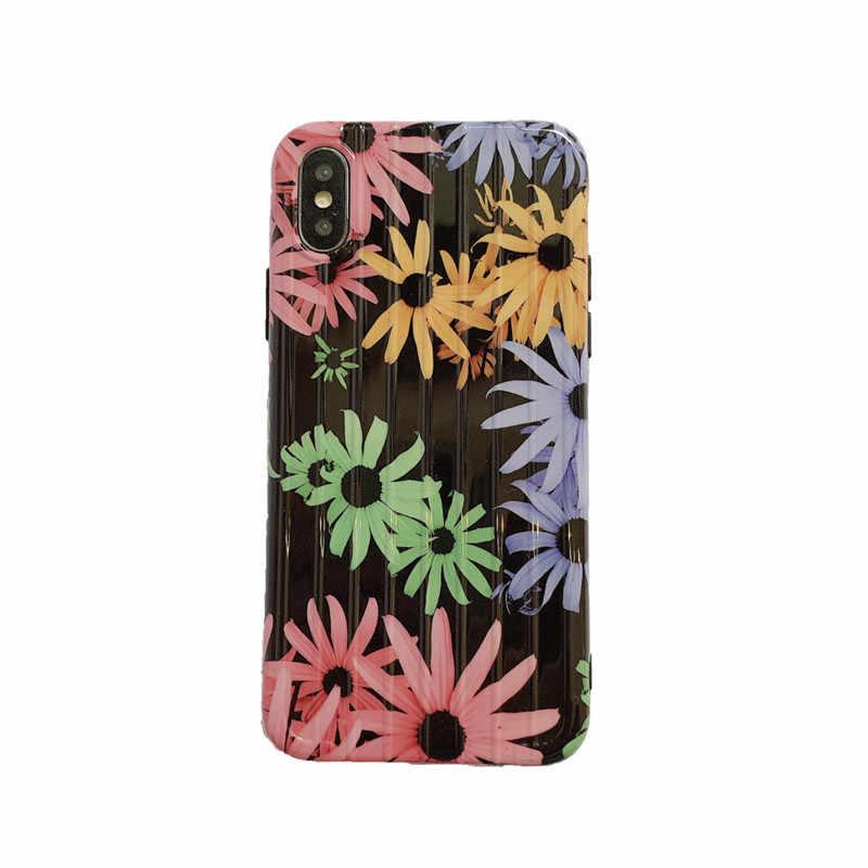 Mala/Bagagem caso de telefone Super bonito Saco De Viagem Bolsa Graffiti Sun flower Macio para iphone 6 6s 7 8 plus X XR XS MÁXIMA cobertura