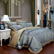В европейском стиле роскошные постельные наборы/постельное белье королевы король размер 4/6 шт Шелковый хлопок сатин жаккард пододеяльник лист постельное белье Комплект