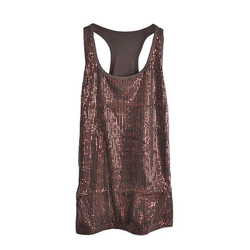 Sexy Lady s Camisole Spangle Sequin Sparkle Shell Tank Top Vest Sleeveless T -Shirt White 9a5465b43157