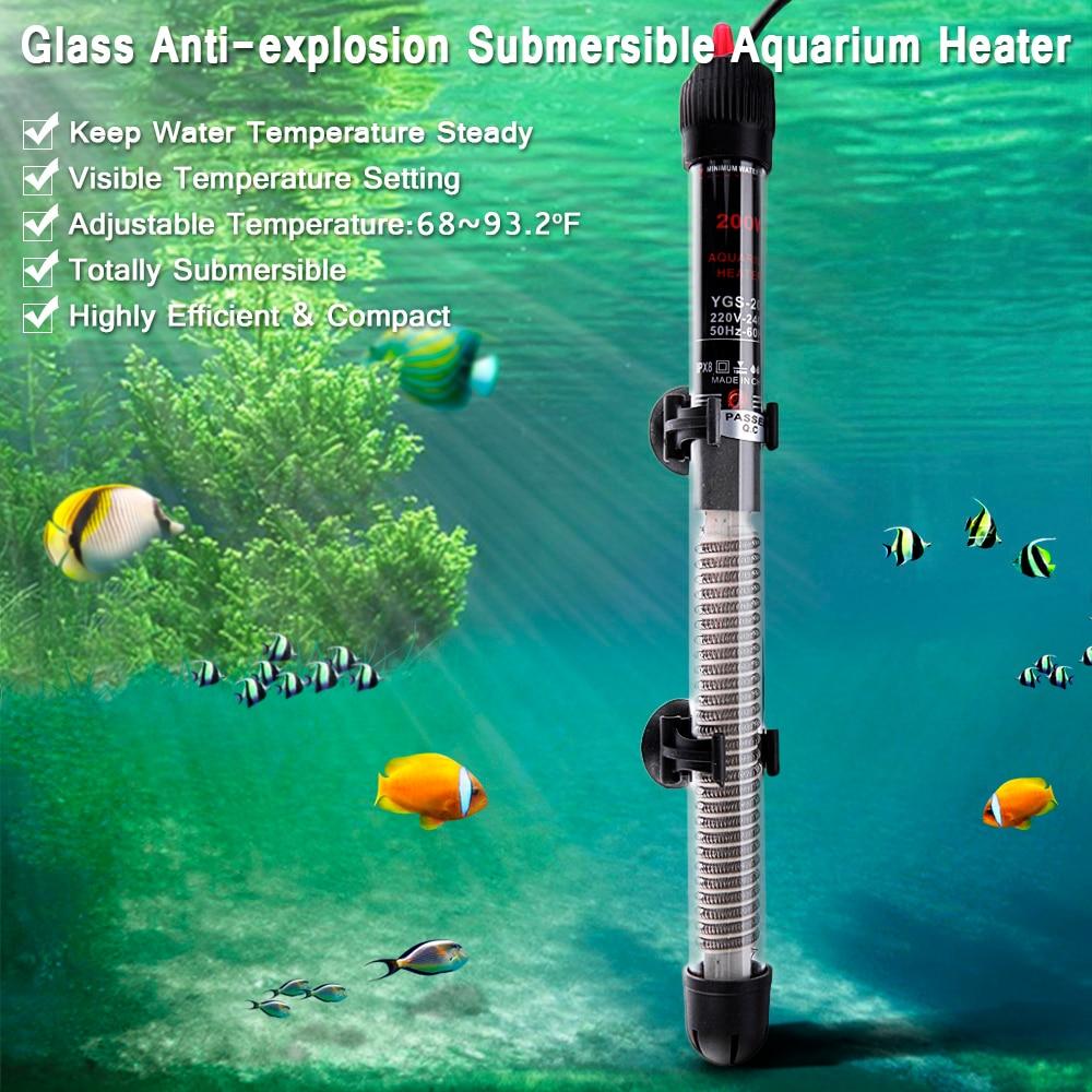 Mini Sommergibile Acquario Riscaldatore Riscaldamento Rod per Carro Armato di Pesci di Regolazione Della Temperatura 220-240 v 25 w/50 w/100 w/200 w/300 w