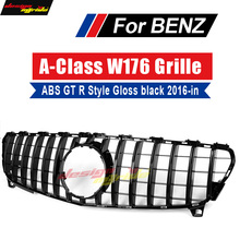 A Class W176 2016-2018 GT R style grille Sport AMGA45 look A180 A200 A250 Front Bumper Grill Grille black With MC/Without sign