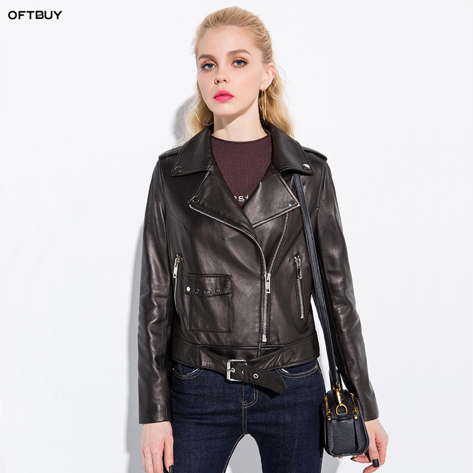 Oftbuy 2019 Spring Autumn Genuine Leather Jacket Women -6562