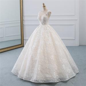 Image 2 - Fansmile New Vestidos de Novia Vintage Ball Gown Tulle Wedding Dress 2020 Princess Quality Lace Wedding Bride Dress FSM 522F