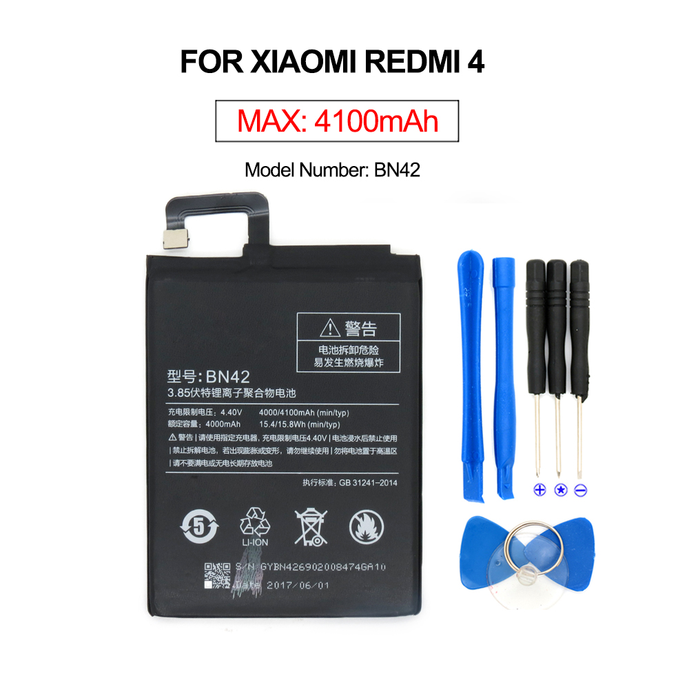 2017 Nouveau Pour Xiaomi Redmi 4 2g + 16 gb Version BN42 Batterie Compatible Pour Xiaomi Redmi 4 Batteries 4000 mah Avec Outil Gratuit