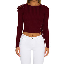 7dc68c056d Women Lace Up Knitted Cropped Sweater Sexy Cold Shoulder Long Sleeve Slim  Pullover Winter Autumn Elastic