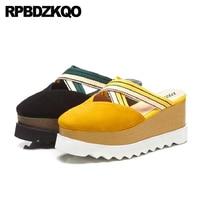 11 Slippers Big Size Mules Slides High Heels Pumps Platform Wedge Sandals Summer Shoes Strap Women Yellow Closed Toe Flatform
