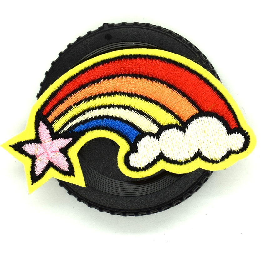 Embroidered Rainbow Cloud Motif Iron On Sew On Transfer