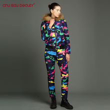 ChuSaubeauty winter clothing for women Winter Jacket 2017 New Spring Autumn  Size Floral Printed Slim Casual Parka Coat + Pants