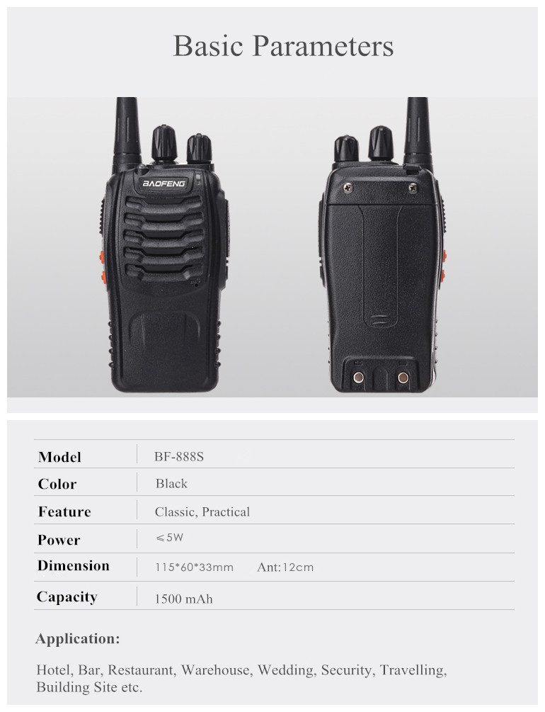 Baofeng BF-888S Walkie Talkie 5W 16CH UHF 400-470MHz Contact us first for cost-saving shipping way…