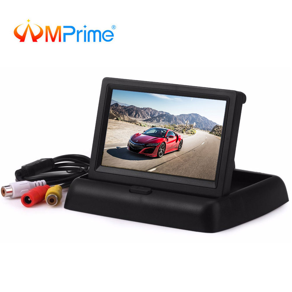 AMPrime 4 3 Foldable Car Rear View Monitor LCD TFT Display Screen 2 Way Video Input
