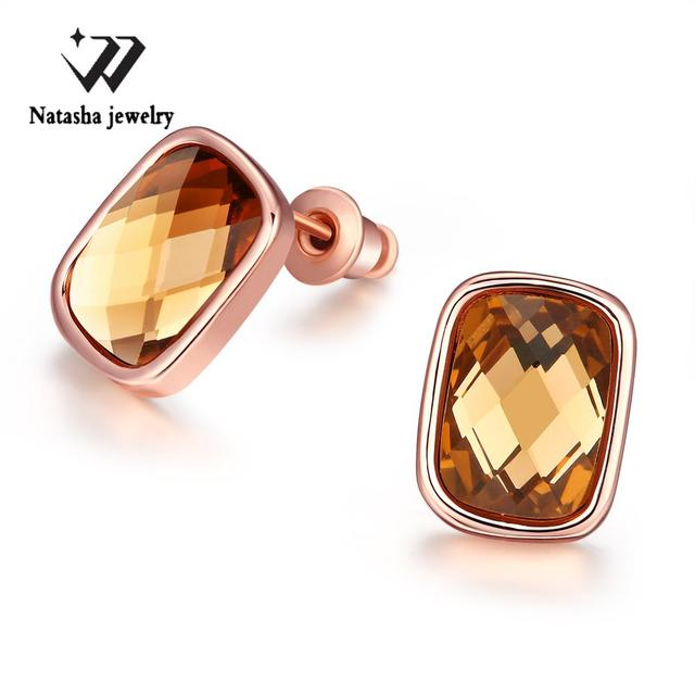 wholesale earings fashion jewelry Rose Gold color Plated Crystal