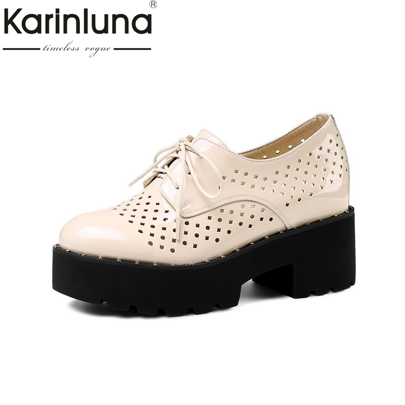 Karinluna 2018 Summer Leather Lining Women Flat Platform Shoes Woman lace-up Hollow Breathable Women Height Increasing Shoe summer women shoes casual cutouts lace canvas shoes hollow floral breathable platform flat shoe sapato feminino lace sandals