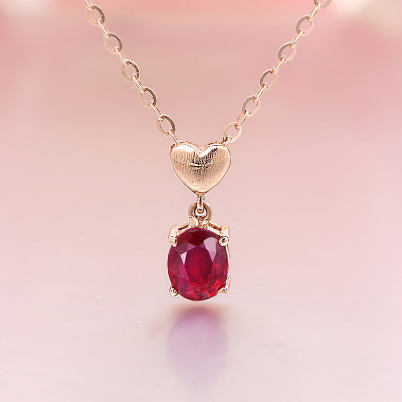 Robira New Style Fashion Natural Ruby Heart Necklace Pendant For Women Real 18K Rose Gold Fine Jewelry Necklace Rope Chain Gift yoursfs 18k rose white gold plated letter best mum heart necklace chain best mother s day gift