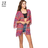 JZ CHIEF Indie Folk Ladies Blouse Boho 2018 New Print Floral Loose Red Shirts Beach Outwear