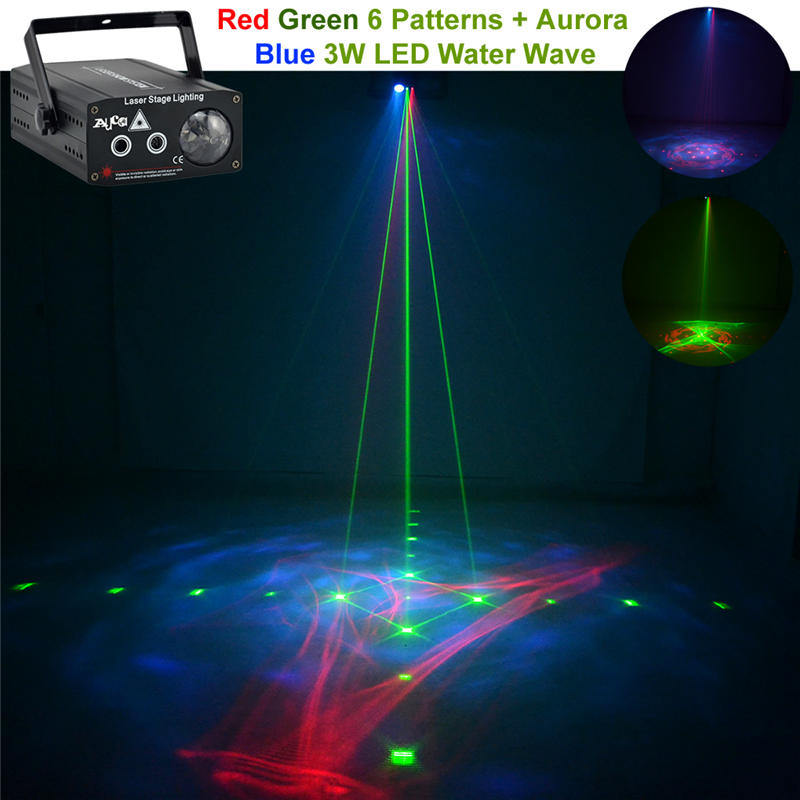 AUCD 2 Len Red Green Gobos Laser Light Mix RGB LED Watermarks Aurora DJ Party Home Show Clubs Stage Lighting D512