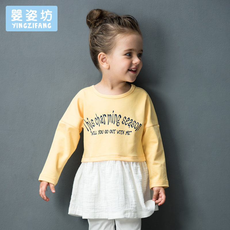 Hot Sale Promotion Full Yingzifang Girls' Casual Active Cotton Long Sleeves Pattern Letter Tees Stitching sporty Dress T-Shirt casual round neck stripes pattern black long sleeves sweat dry tight t shirt for men