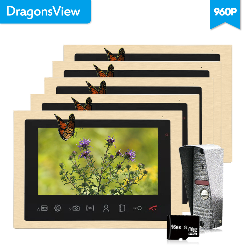 Dragonsview Video Intercom Door Phone Intercom Doorbell  Home Intercom 10 Inch 960P Golden Color Metal Picture /Video RecordingDragonsview Video Intercom Door Phone Intercom Doorbell  Home Intercom 10 Inch 960P Golden Color Metal Picture /Video Recording