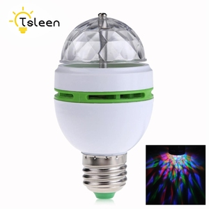 TSLEEN E27 3W RGB Crystal Auto Rotating LED Bulb Stage Light Disco DJ Party Lamp Holiday Bulb With Convertor Holder Socket Base