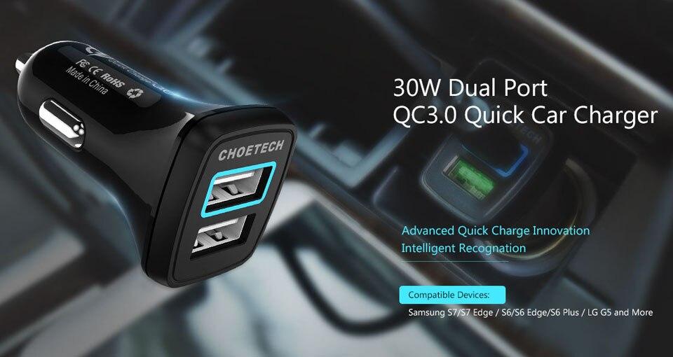רכב-מטען USB כפול 2.0 CHOETECH מטען לרכב 30W טעינה מהירה הטלפון מטענים עבור סמסונג גלקסי S7/S6 / LG G5 / HTC 10 / iPhone