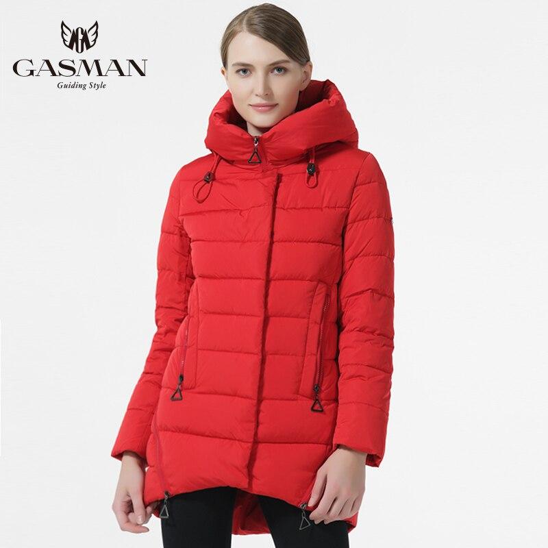 4b0b212758b GASMAN 2018 куртка женская зимняя с Капюшоном пуховик зимний женский черный  свободного покроя открытое теплое пальто