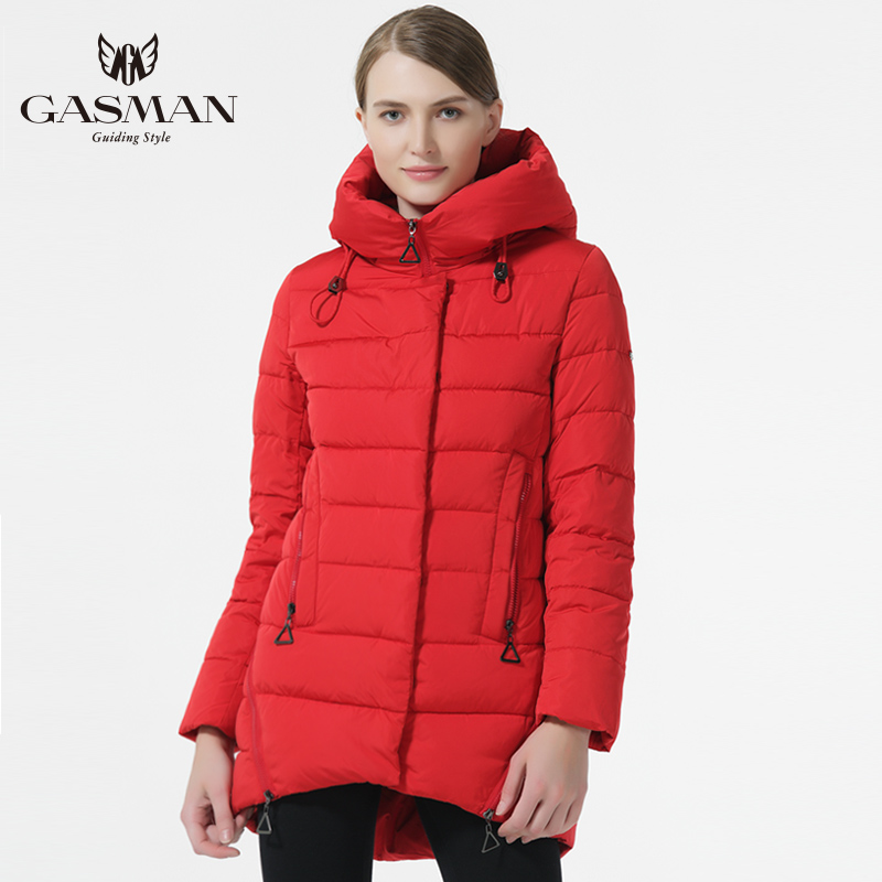 GASMAN 2018 New Fashion Winter Down Jackets And Coat For Women Medium Length Hooded Thick Down   Parka   Coat Black Color Overcoats