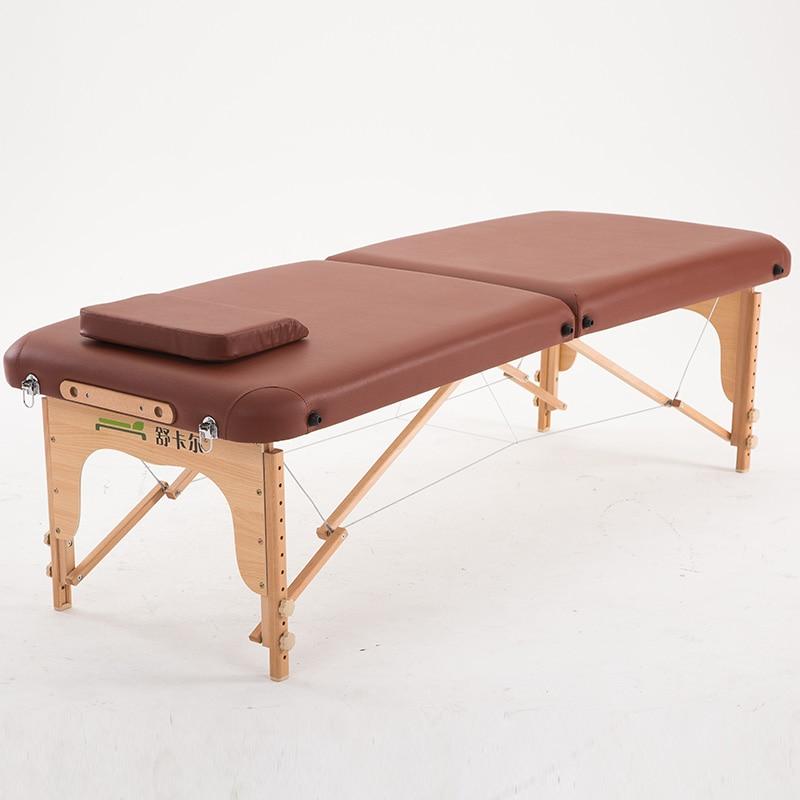 70 cm de large 2 fois lit de Table de Massage en bois de confort avec étui de transport meubles de Salon pliant Portable thaï Spa Table de Massage lit de tatouage