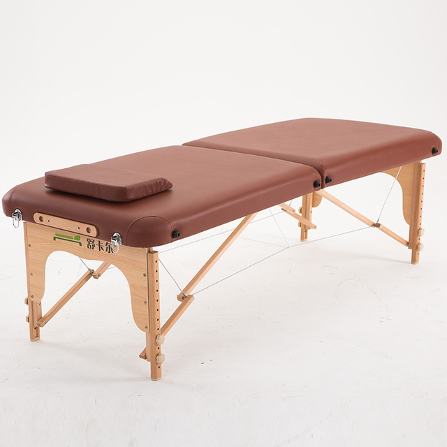 70cm Wide 2 Fold Comfort Wood Massage Table Bed W/Carry Case Salon  Furniture Folding