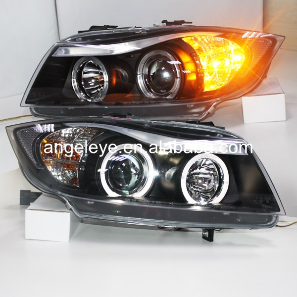 For BMW for E90 318i 320i 2005-2008 year Head Lamp Front Light LED Angel Eyes with Projector Lens SN спойлер bmw e90 318i 320i 325i 330i m3