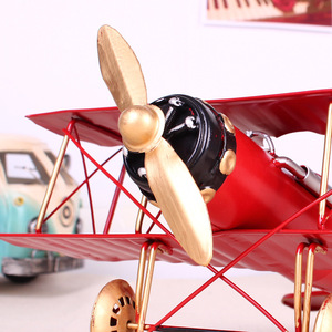 Image 3 - Vintage Metal Plane Home Ornaments Aircraft Model Toys For Children Airplane Miniature Models Retro Creative Home Decor